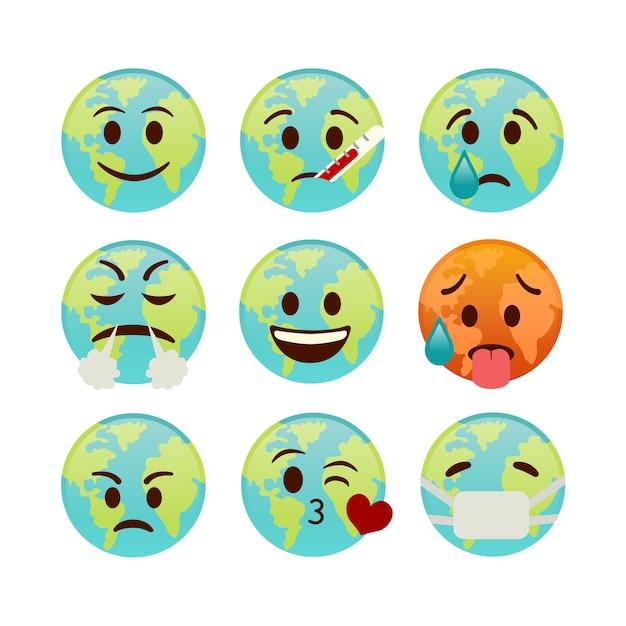 Ensemble D'icônes Terre, Emojis Avec Différents Visages Vecteur Premium