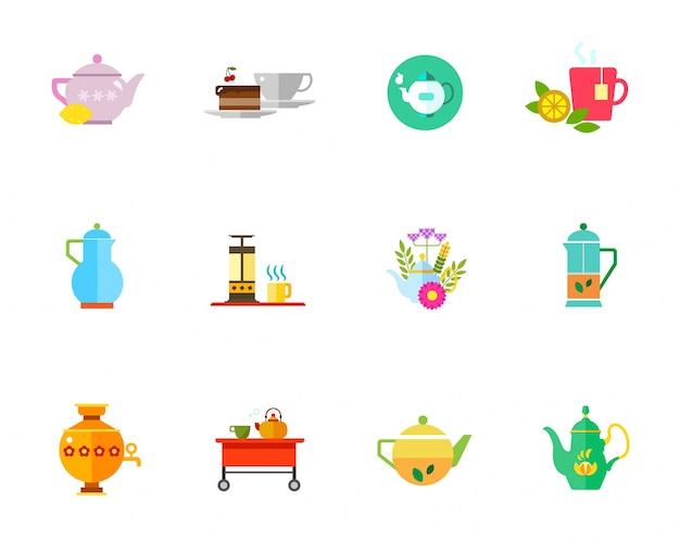 Ensemble d'icônes de thé à base de plantes Vecteur gratuit