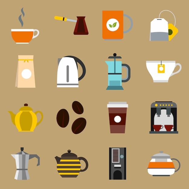 Ensemble d'icônes thé et café Vecteur Premium