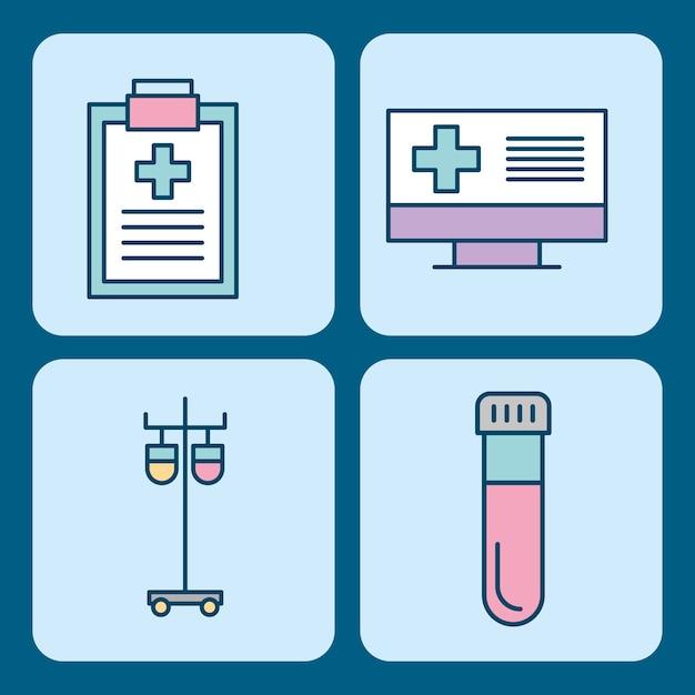Ensemble d'icônes de thème science médecine médicale Vecteur Premium