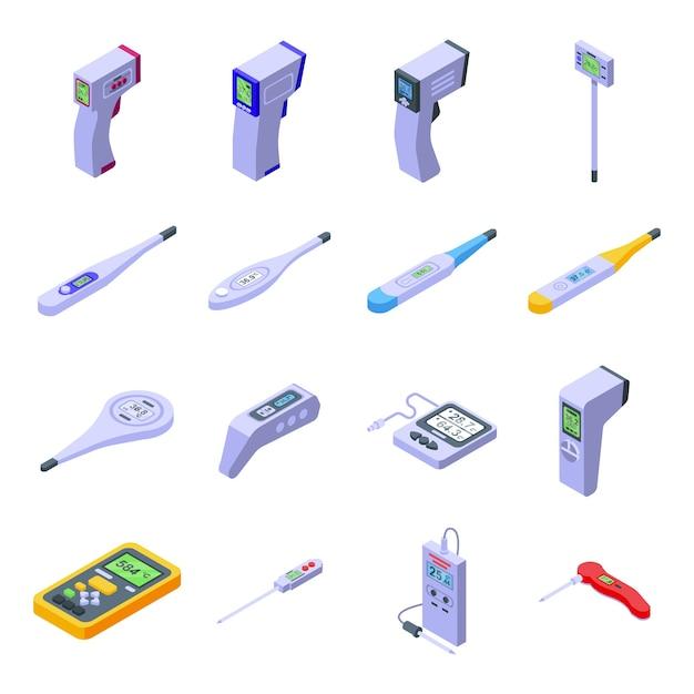 Ensemble D'icônes De Thermomètre Numérique. Ensemble Isométrique D'icônes De Thermomètre Numérique Pour Le Web Isolé Sur Fond Blanc Vecteur Premium