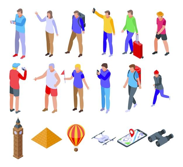 Ensemble D'icônes Touristiques, Style Isométrique Vecteur Premium