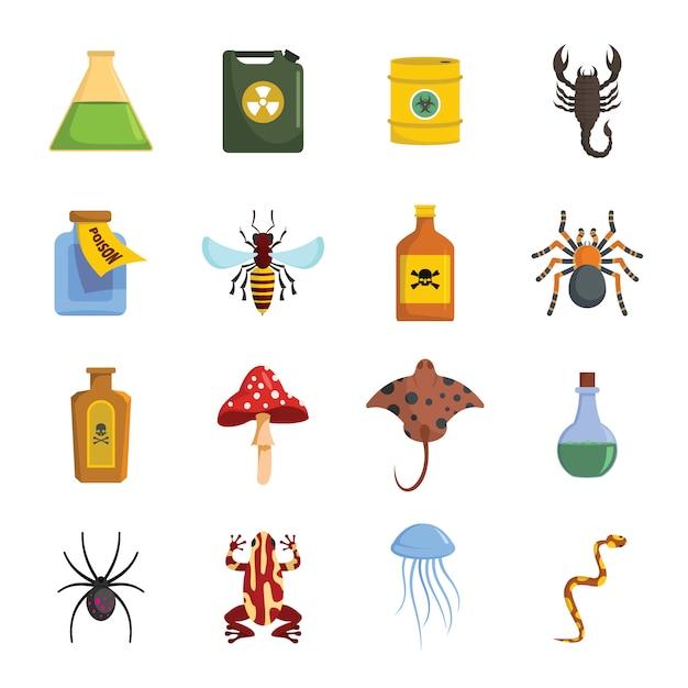 Ensemble d'icônes toxiques de poison danger Vecteur Premium
