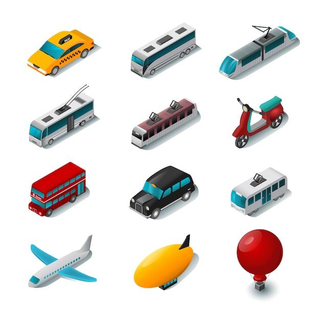 Ensemble d'icônes de transport public Vecteur gratuit