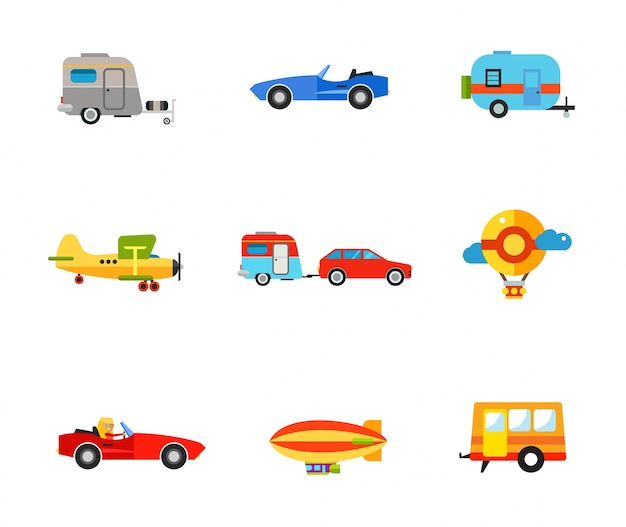 Ensemble d'icônes de transport Vecteur gratuit