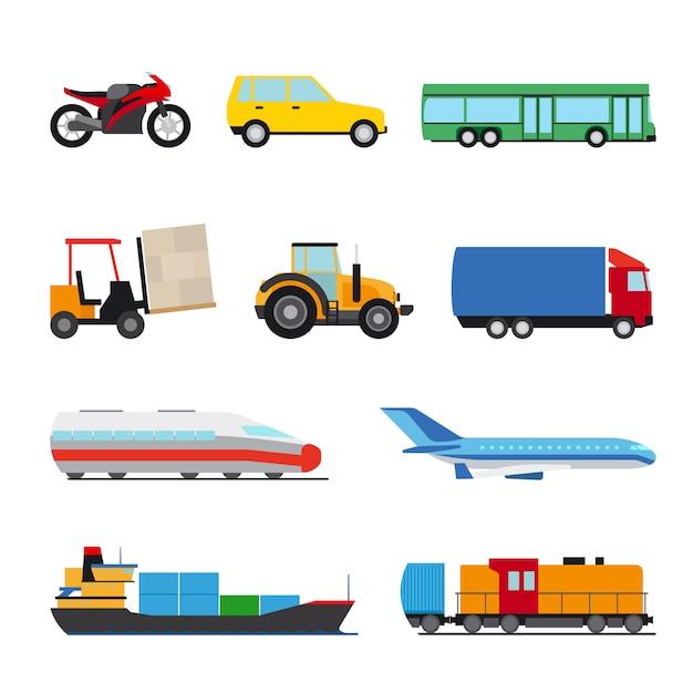 Ensemble d'icônes de transport Vecteur Premium