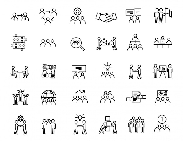 Ensemble d'icônes de travail d'équipe linéaire. icônes de communication au design simple. Vecteur Premium