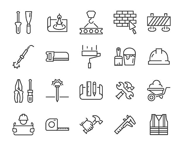 Ensemble d'icônes de travail, telles que ingénieur, charpentier, construction, constructeur Vecteur Premium