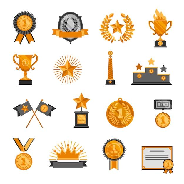 Ensemble d'icônes de trophée et récompenses Vecteur gratuit