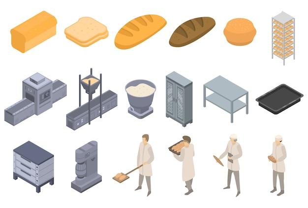 Ensemble d'icônes usine de boulangerie, style isométrique Vecteur Premium