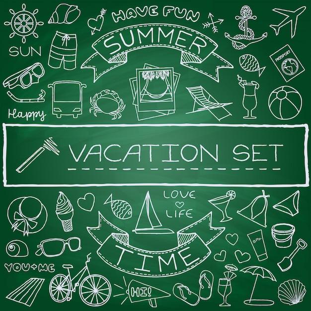 Ensemble d'icônes vacances dessinés à la main Vecteur Premium