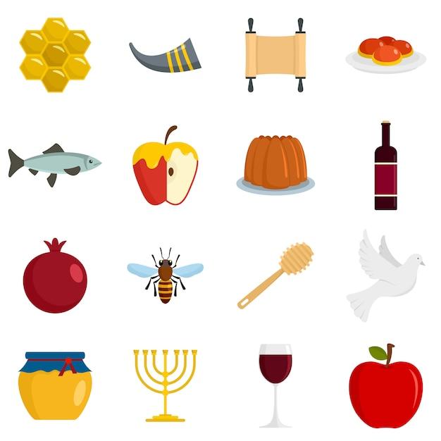 Ensemble d'icônes de vacances juives à roch hachana Vecteur Premium