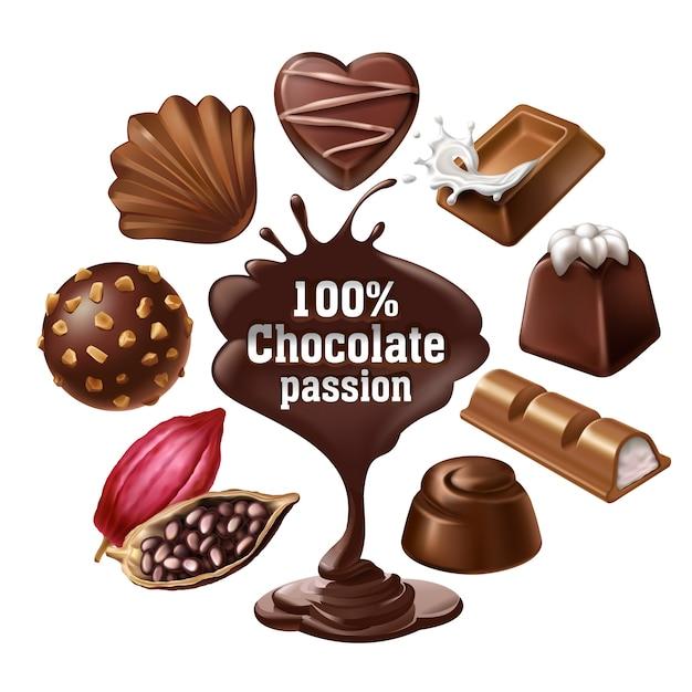 Ensemble D'icônes Vectorielles De Desserts Au Chocolat Et De Bonbons, Chocolat Liquide Et Fèves De Cacao Vecteur gratuit