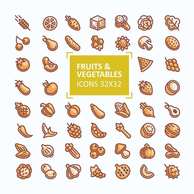Ensemble D'icônes Vectorielles De Fruits Et Légumes Au Style D'une Ligne Fine, Coup De Bout Modifiable Vecteur gratuit