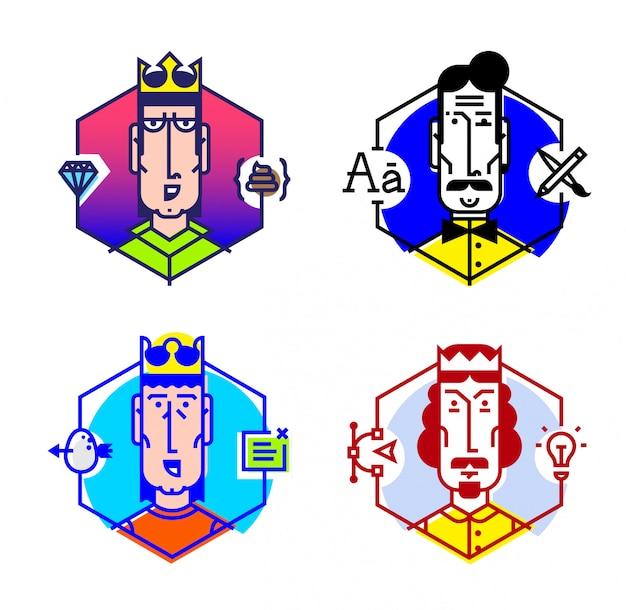 Ensemble d'icônes vectorielles des personnes de différentes professions. Vecteur Premium