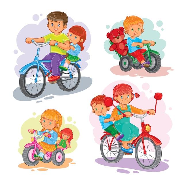 Ensemble d'icônes vectorielles petits enfants sur les bicyclettes Vecteur gratuit
