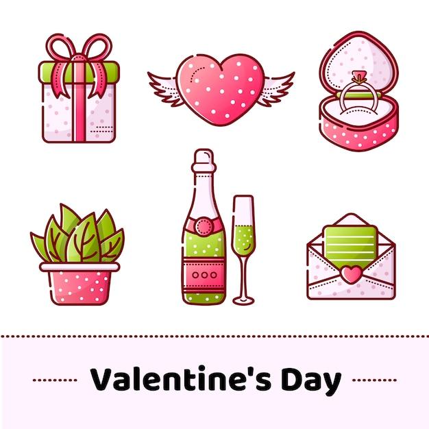 Ensemble D'icônes Vectorielles Pour La Saint-valentin Vecteur Premium