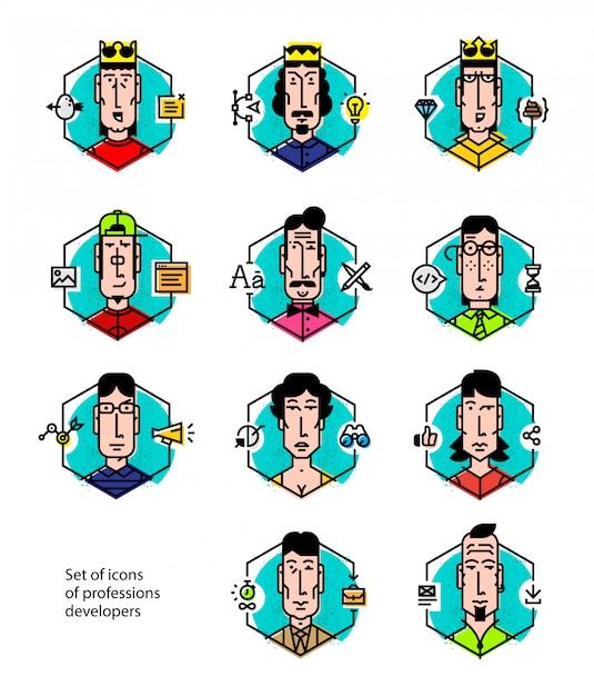 Ensemble d'icônes vectorielles des professions populaires. Vecteur Premium