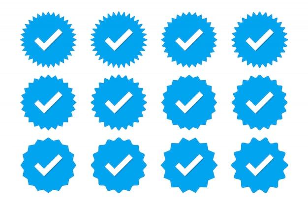 Ensemble D'icônes De Vérification De Profil Bleu. Badges De Garantie, Approbation, Acceptation Et Qualité Vecteur Premium
