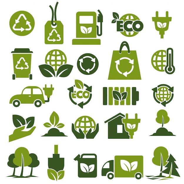 Ensemble d'icônes vertes sur la protection de l'environnement et le recyclage Vecteur Premium