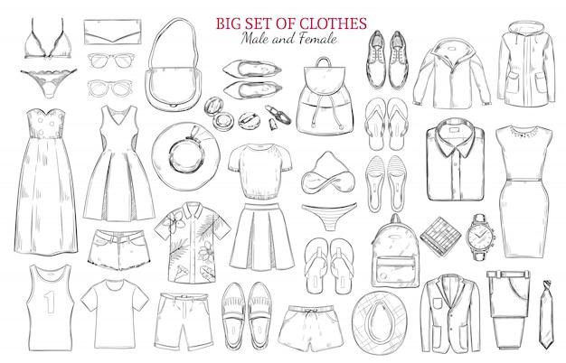 Ensemble D'icônes De Vêtements Monochromes De Croquis Vecteur gratuit