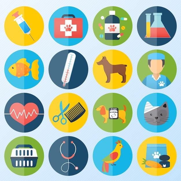Ensemble d'icônes vétérinaires Vecteur Premium