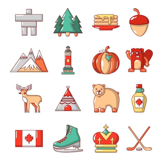 Ensemble d'icônes de voyage canada Vecteur Premium