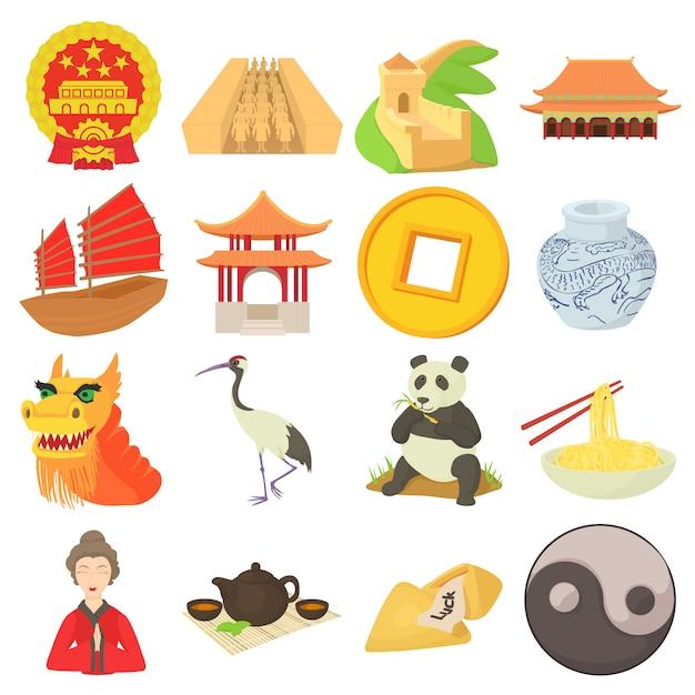 Ensemble d'icônes de voyage chine Vecteur Premium
