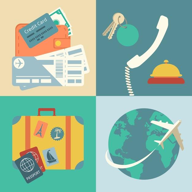 Ensemble d'icônes de voyages de vacances Vecteur gratuit