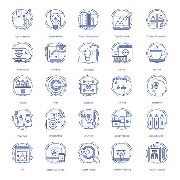Ensemble d'icônes web design Vecteur Premium