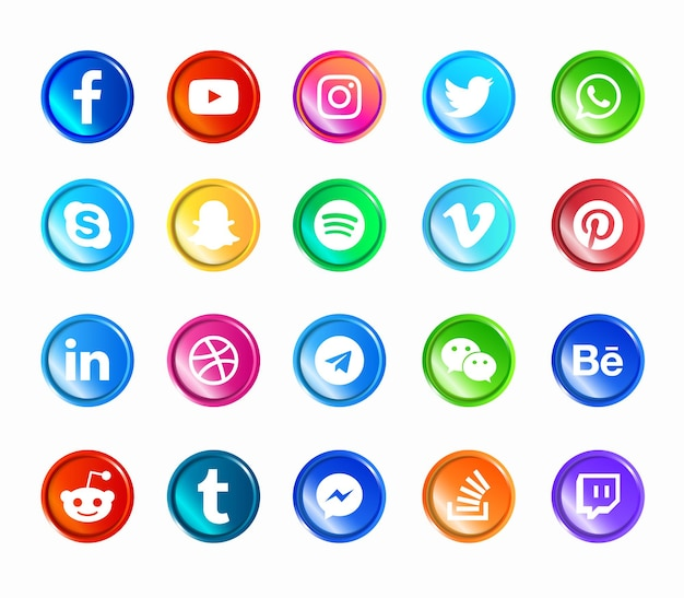 Ensemble D'icônes Web Modernes De Médias Sociaux Vecteur Premium