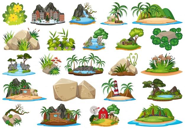 Ensemble d'île nature Vecteur Premium
