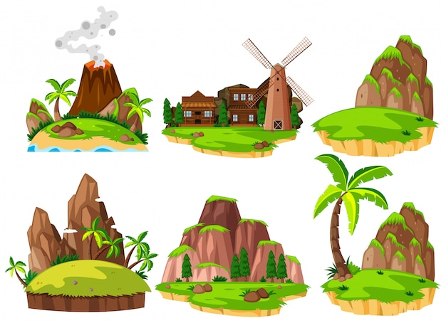 Ensemble d'îles différentes Vecteur Premium