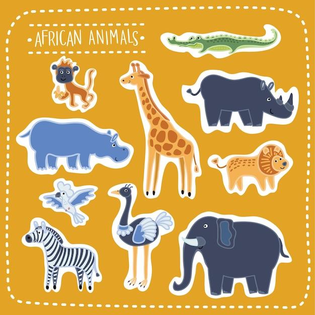 Ensemble D'illustration D'animaux Africains Drôles Mignons, Bêtes De La Savane Vecteur Premium