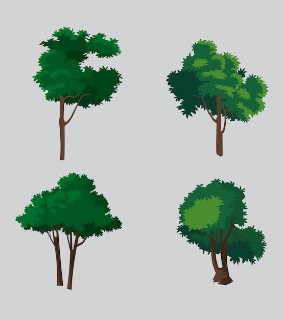 Ensemble d'illustration d'arbres vectoriels Vecteur Premium