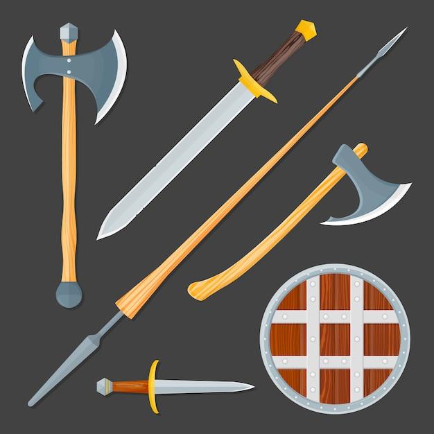 Ensemble D'illustration D'arme Froide Médiévale Vecteur Premium