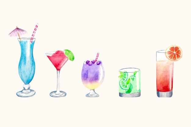 Ensemble D'illustration De Cocktail Aquarelle Vecteur gratuit