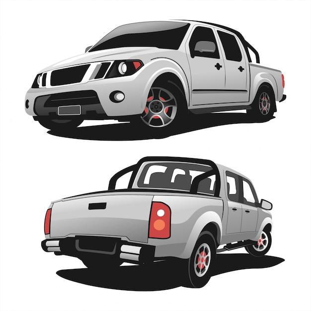 Ensemble D'illustration De Conception De Vecteur De Camion Pick-up Vecteur Premium