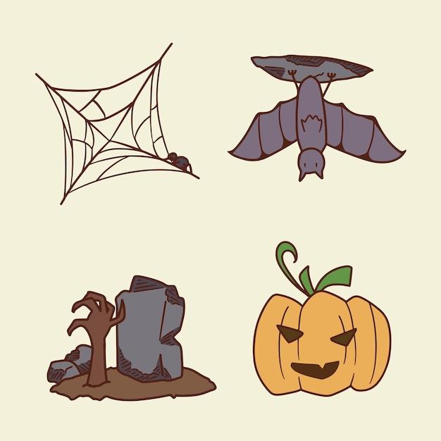 Ensemble D'illustration De Dessin à La Main Halloween Vecteur Premium