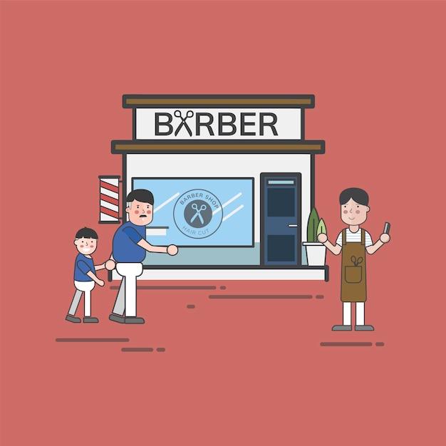 Ensemble d'illustration du vecteur de salon de coiffure Vecteur gratuit