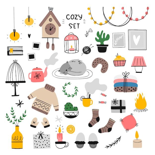 Ensemble D'illustration D'éléments De Maison Confortable. Vecteur Premium