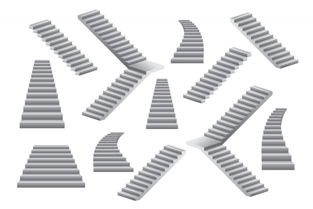 Ensemble D'illustration D'escaliers Isolé Sur Blanc Vecteur Premium