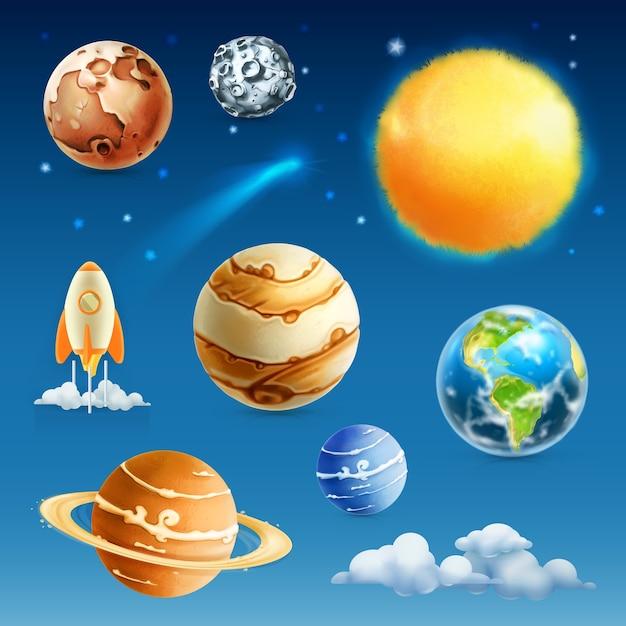 Ensemble D'illustration Espace Et Planète Vecteur Premium