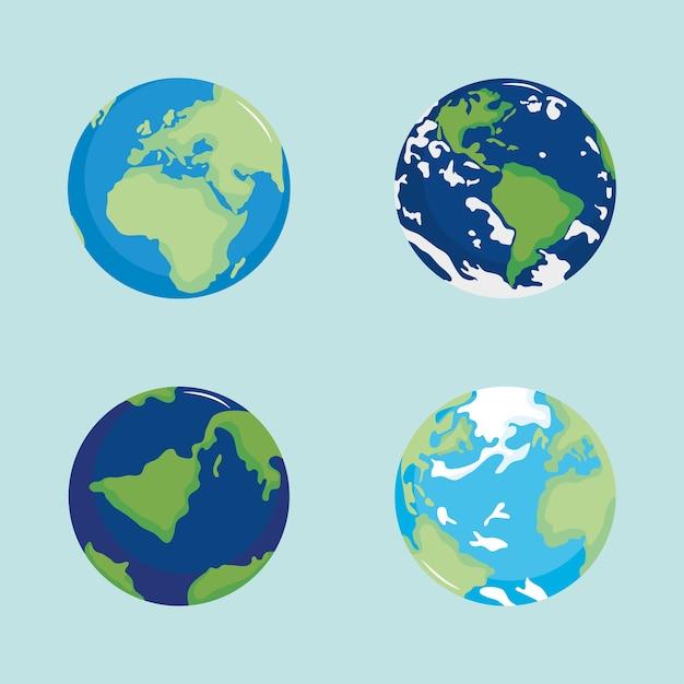 Ensemble D'illustration De Géographie De Planète Carte Du Monde Global Vecteur Premium