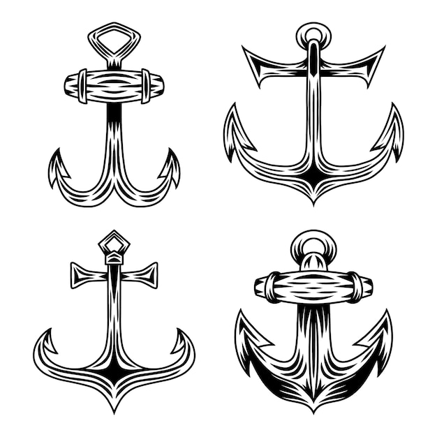 Ensemble d'illustration isolée d'ancre de navire rétro vintage sur fond blanc. Vecteur Premium