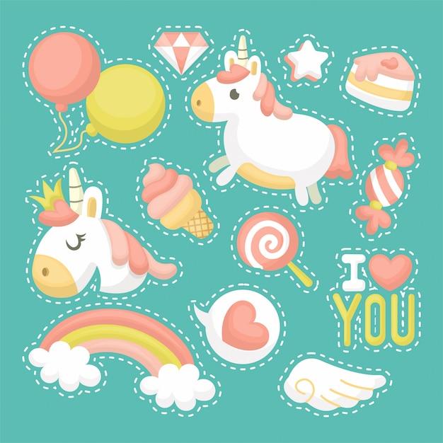 Ensemble d'illustration de licorne mignonne avec style de dessin animé Vecteur Premium