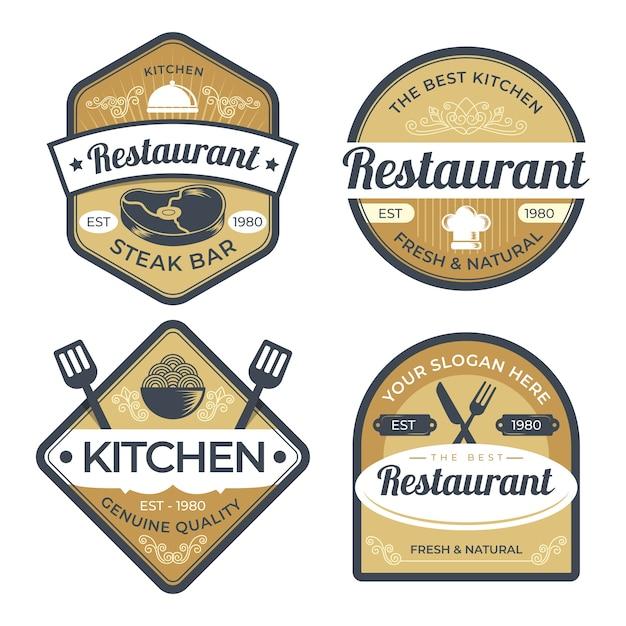 Ensemble D'illustration De Logo De Restaurant Rétro Vecteur Premium