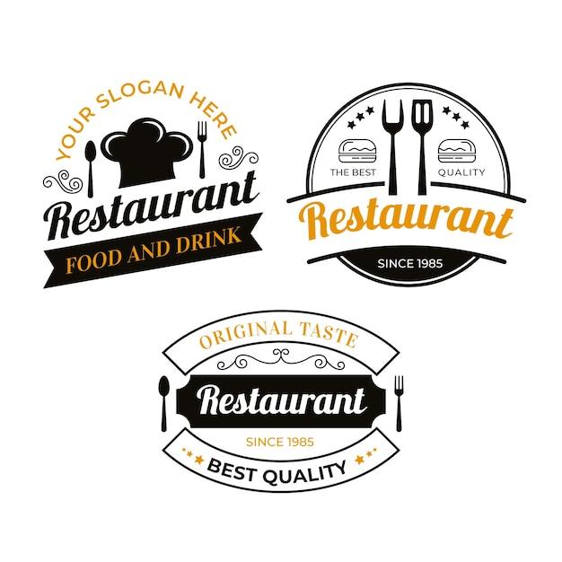 Ensemble D'illustration De Logo De Restaurant Vintage Vecteur gratuit