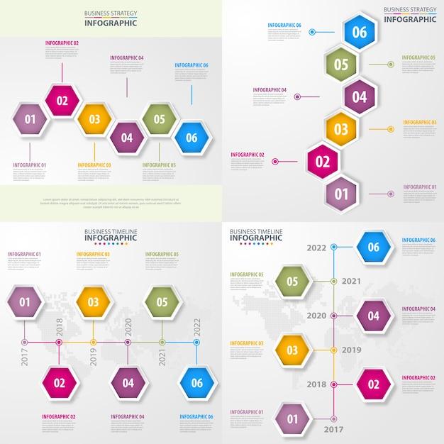 Ensemble d'illustration de modèle de conception infographie métier Vecteur Premium
