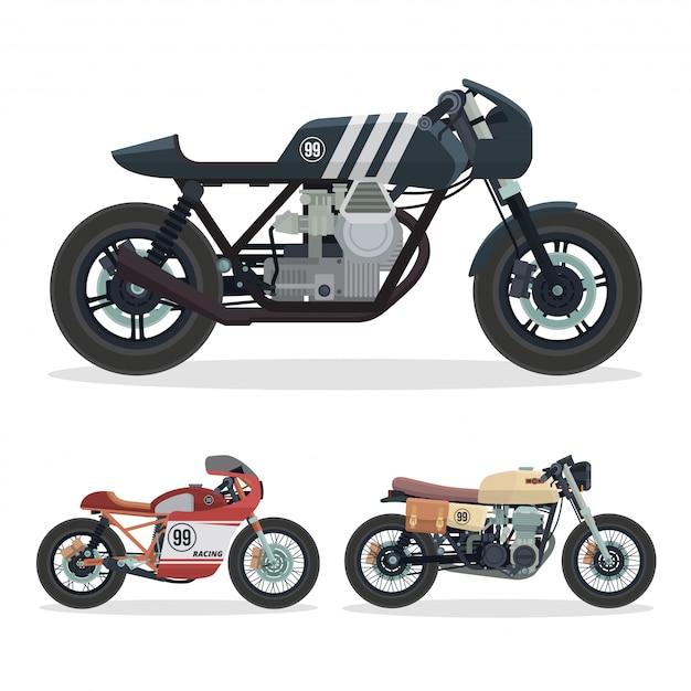 Ensemble D'illustration De Moto Vintage Racer Motorcycle Vecteur Premium